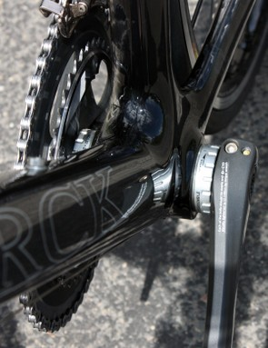 The beefy down tube is nearly as wide as the bottom bracket shell