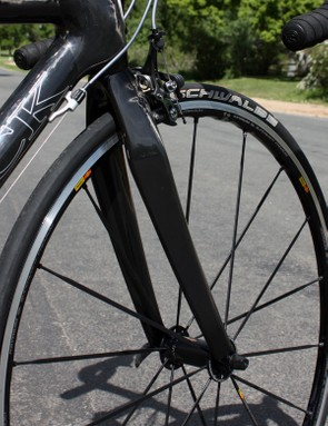 The included carbon fork feels confident in the corners with excellent stiffness …