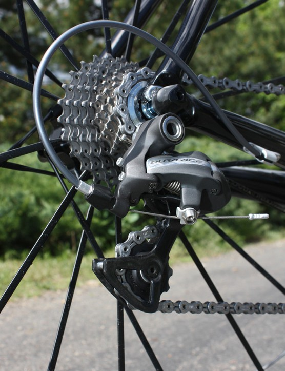 Rear shifts from the Dura-Ace drivetrain are smooth, reliable and quiet
