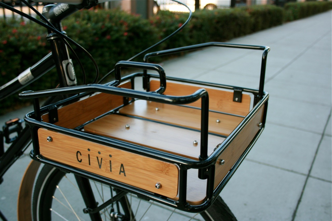 It can be a little getting used to, but the Civia rolled alu and bamboo basket held all our stuff safely.