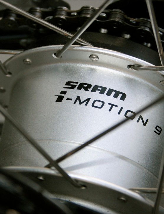 SRAM's i-Motion 9-speed internal rear hub is heavy but effective.