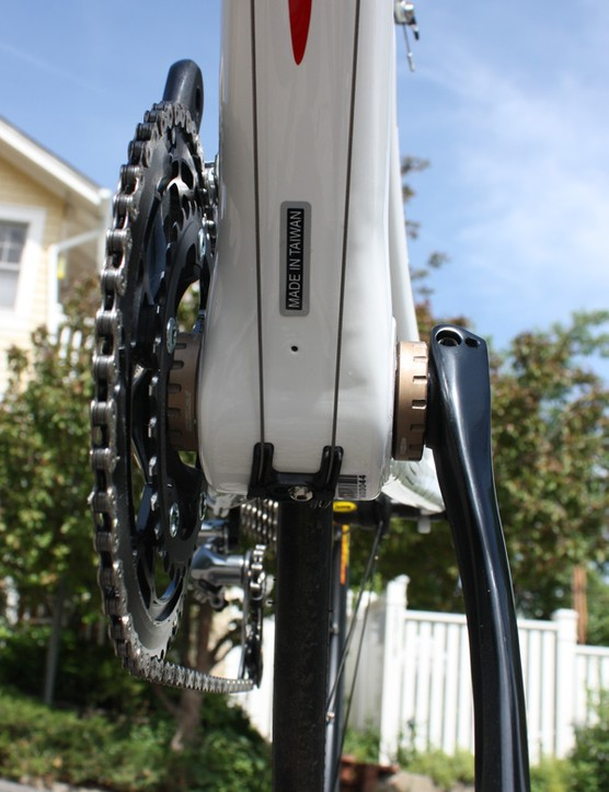 The down tube measures just shy of 68mm across nearly through its entire length