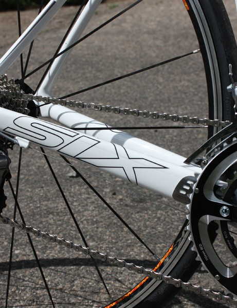The Six Carbon frame adheres to the 'big chainstay, little seatstay' philosophy