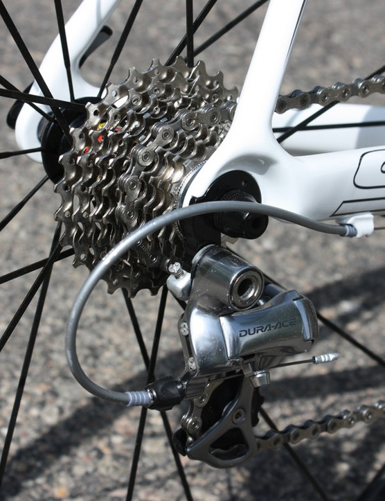The rear derailleur gets upgraded to Shimano's Dura-Ace 7800 model