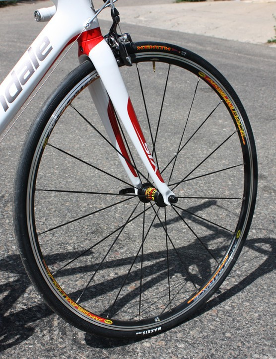 The Mavic Aksiums are smooth rolling but heavy at nearly 1,900g per pair - good for cruising around and training but definitely upgrade if you plan to race