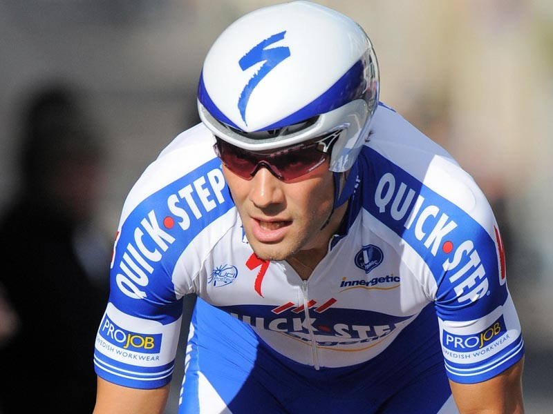 Belgium team leader Tom Boonen (Quick Step/Belgium) competes, on June 7, 2009, in the 12,1 km individual time-trial and first stage of the 61th edition of the Criterium of Dauphine Libere cycling race run in Nancy, eastern France