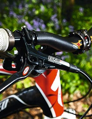 Carbon levers adorn the custom Avid Elixir R brakes