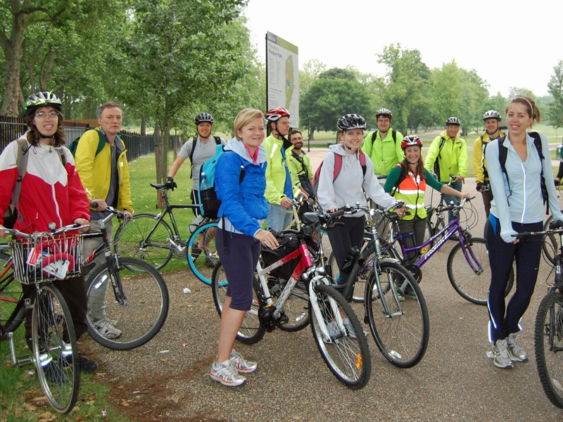 Riders gather in Finsbury before the BikeTube sets off