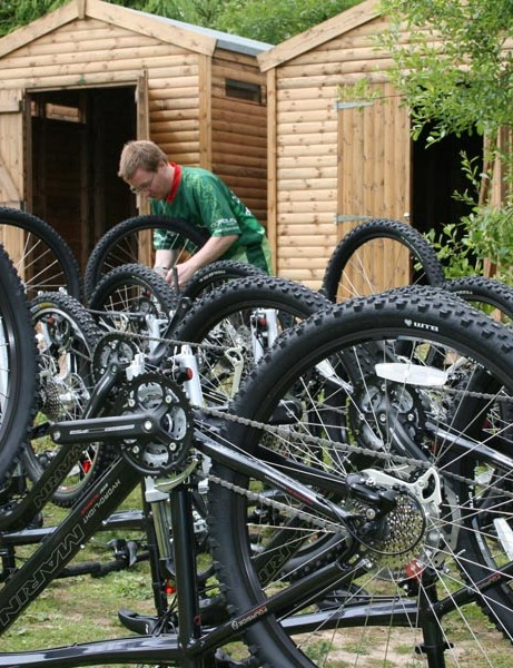 Malcolm Stoddart working with the bikes