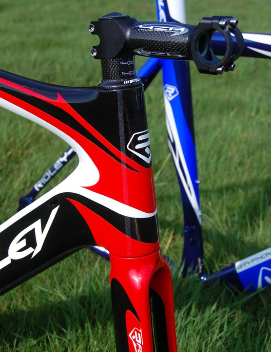 The Noah uses a tapered front end as well in addition to a rough strip of 'R-Surface' material on either side that Ridley say helps air 'stick' to the sides and trailing edges of the frame, thus reducing drag.  Similar strips are used on the seat tube and seat stays.