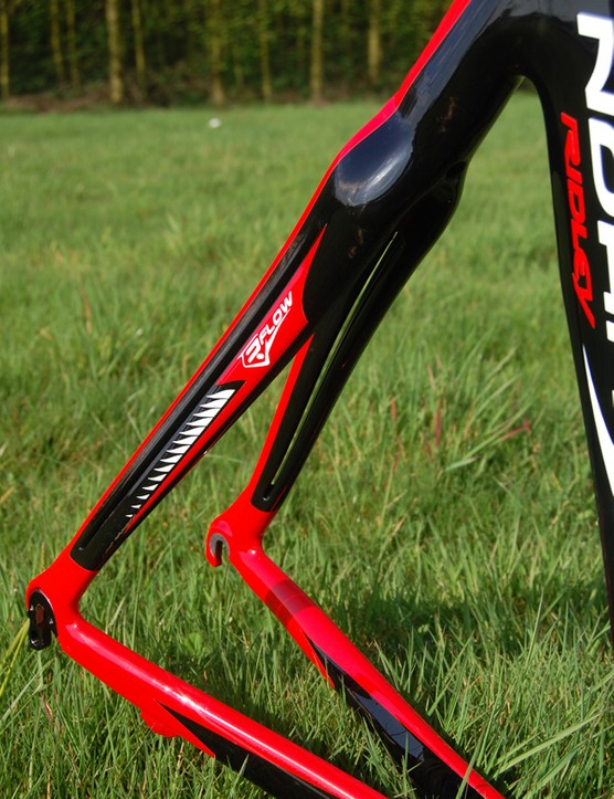 Ridley say the split R-Flow seat stay and fork blade design pull air away from the churning wheels to reduce drag.