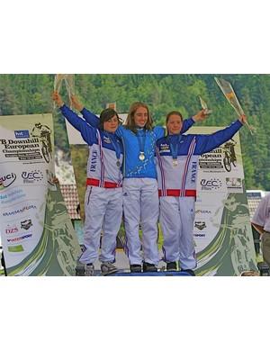 Elite women's podium - Floriane Pugin, Emmeline Ragot and Myriam Nicole