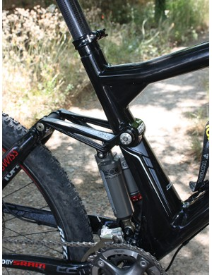 The seat tube is offset far forward to make room for the rear shock.