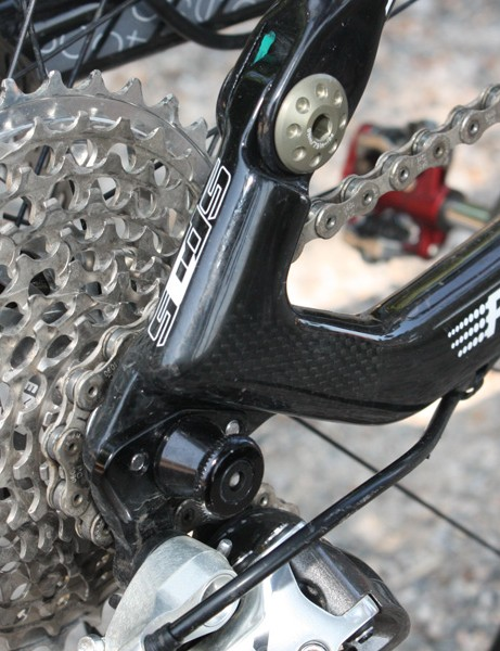 Carbon is also used for the driveside dropout but a replaceable derailleur hanger provides a bit of insurance.