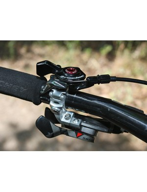 The aluminum TracLoc remote control switches the rear shock between three different operating modes.
