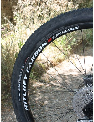 Even the rear rim is carbon fibre to keep the weight down.
