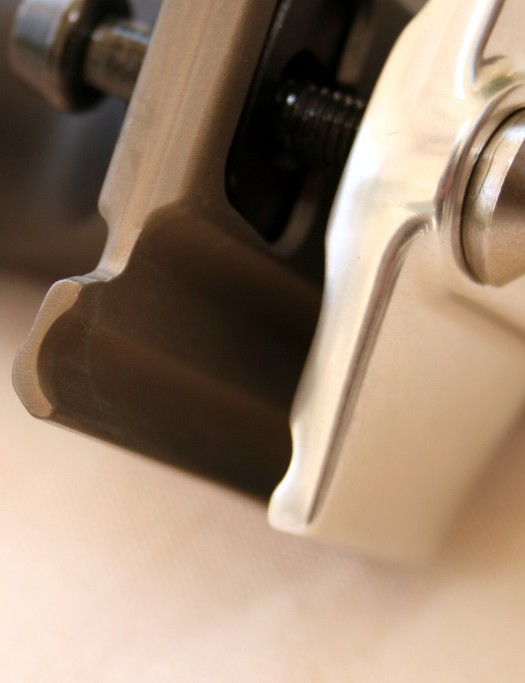 Radiused ends to the clamp reduce stress on the rails.