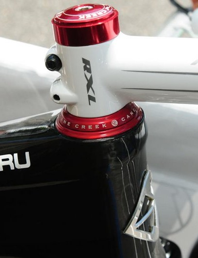 The integrated headset bearings drop right into molded-in carbon cups.