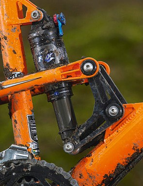 The long shock stroke is what makes the ST4's suspension stand out from the crowd of 4in trail bikes