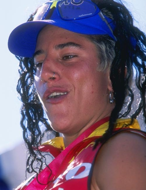 28 Jun 1997: Missy Giove looks on during the Mountain Bike World Cup at Mont Ste-Anne in Quebec, Canada