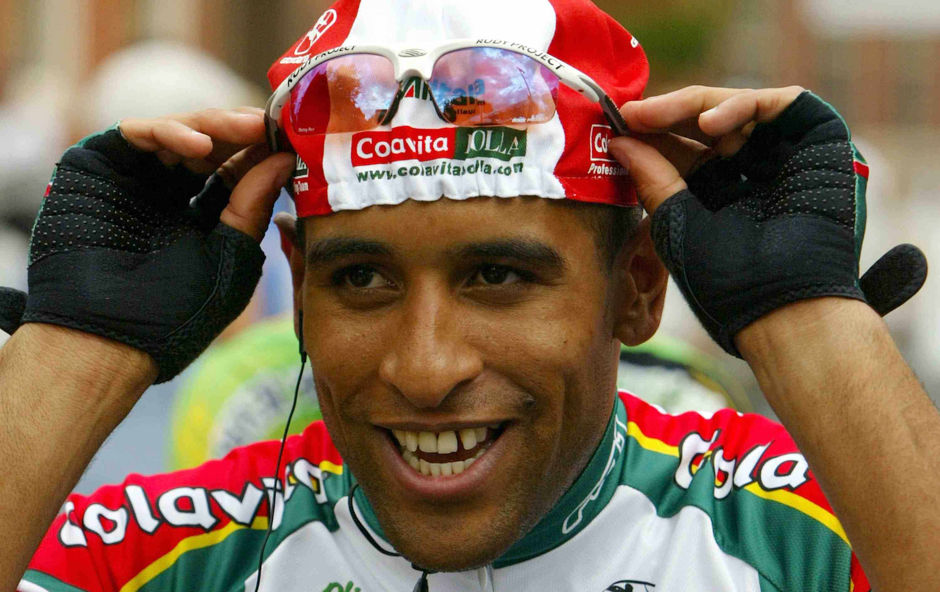 Cuban native Ivan Dominguez, riding for Colavita Bolla, prepares for the Wachovia Cycling Series event on June 3, 2004 in Trenton, New Jersey.