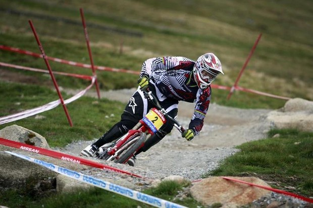 Greg Minnaar in action during the 2009 world cup round in Fort William, UK