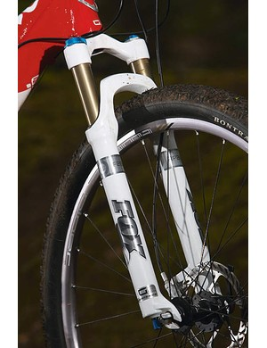 The custom fork isn't just longer to accommodate the bigger wheels, it's got more offset at the crown too