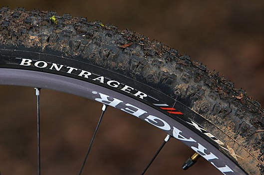 The Bontrager XDX tyres roll fast but don't hook up too well in typically claggy UK trail riding conditions