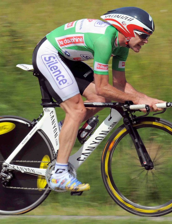 Evans again, this time during the 42.4km Stage 4 of the 2009 Dauphine Libere.