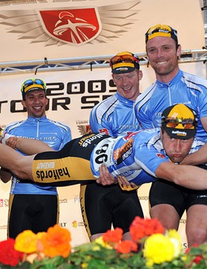 Team Halfords-BikeHut leads the Tour Series overall after eight rounds.