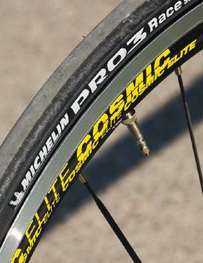 Mavic's Cosmic Elite wheels are aerodynamic while the Michelin tyres blend light weight and impressive grip