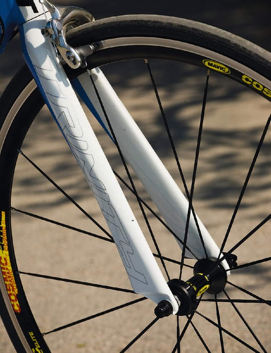 The fork blades are, like the seatstays - incredibly skinny to carve through the air
