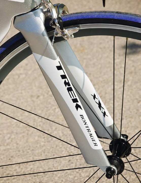 The fork legs are spaced more widely apart than usual again to reduce the Trek's drag