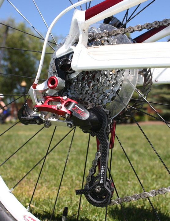 Conveniently, SRAM's red-anodized X.0 rear derailleur matches nicely.
