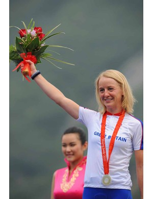 Pooley on the Olympic podium in Beijing after winning silver in the time trial