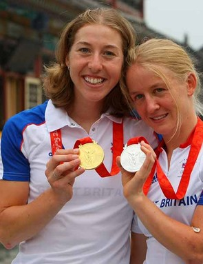 Pooley with Olympic road race gold medalist Nicole Cooke