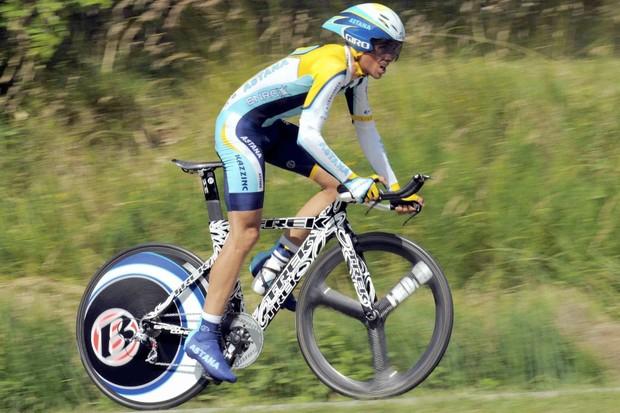 Spaniard Alberto Contador racing the Dauphine Libere June 10, 2009.