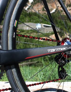 The Tarmac SL3 chain stays are now boxier than before for extra rigidity.