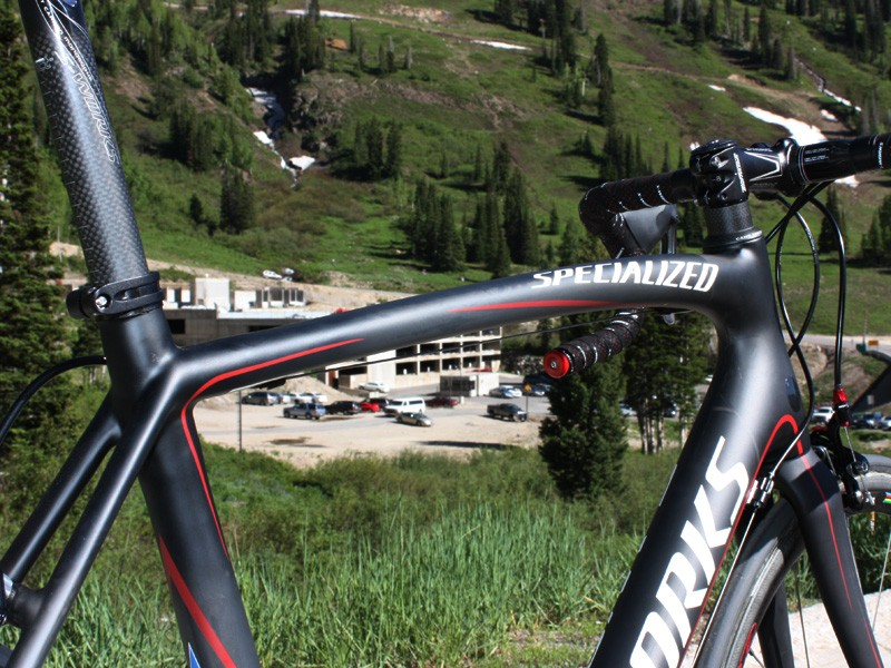 Specialized claims the curved top tube is a key element for keeping the Tarmac SL3 comfortable.