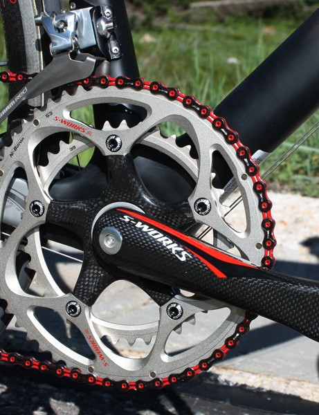 The new FACT SL crank on the top-end S-Works Tarmac SL Superlight uses a carbon fibre spider and lighter chainrings.