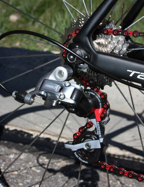 A SRAM Red group contributes to the 5.95kg (13.1lb) claimed weight for a complete Tarmac SL3 Superlight.