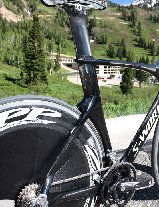 The subtle tail on the back of the seat tube where the stays join helps maintain smooth airflow off the rear end.