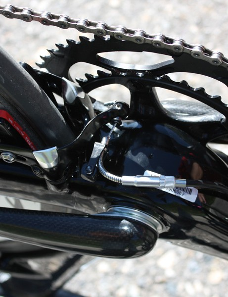 The rear brake is located down below the chain stays where the air is already turbulent.