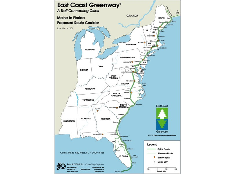 The proposed route of the US East Coast Greenway
