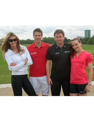 Elle Macpherson, Gethin Jones, Ian Drake and Victoria Pendleton at the launch of the Skyride initiative