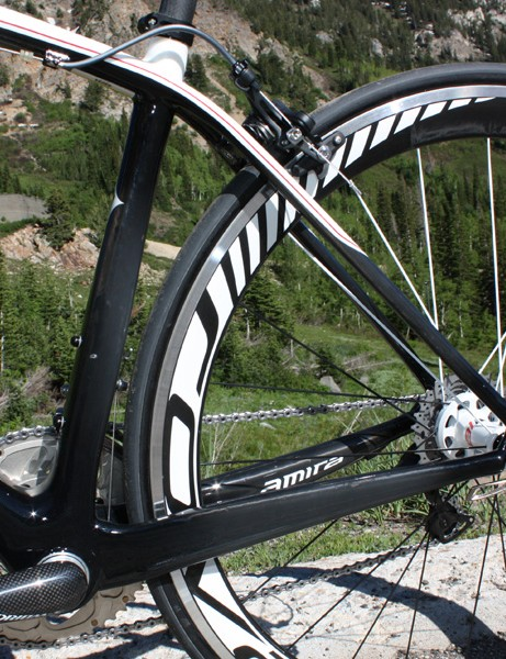 Stout chain stays are paired with slender triangulated seat stays, just as on the Tarmac.