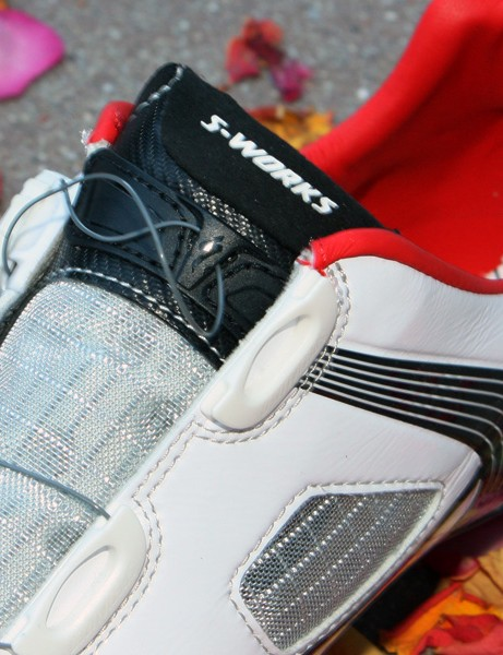 Open-backed lace guides make it easier to get the shoes on and off.