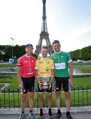 (From left) Andy Guy, Andy Tinsley and James Waite at the Eiffel Tower