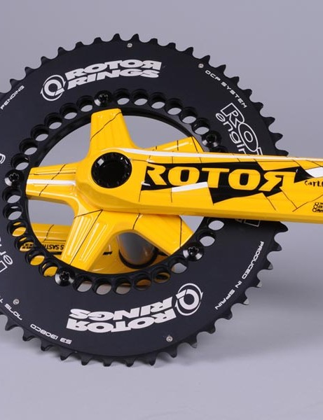 In celebration of his '08 Tour de France victory on Q-Rings, Rotor has prepared a unique, one-off yellow 3D crankset especially for Sastre