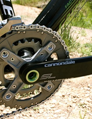Cannondale worked with SRAM to develop an XX-compatible double chainring spider for its Hollowgram SL crankset.